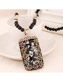 Jockey Multicolor Diamond Decorated Flower Design Alloy Beaded Necklaces