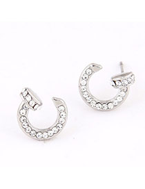 Athena Silver Color Diamond Decorated Rivet Shape Design Alloy Stud Earrings