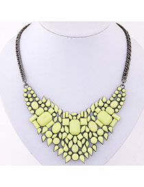 Aquamarine Yellow Gemstone Decorated Geometrical Shape Design Alloy Bib Necklaces