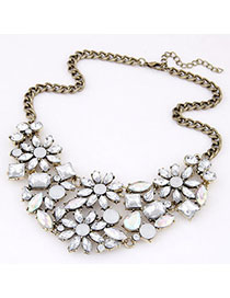 Athletic White Gemstone Decorated Flower Design Alloy Bib Necklaces