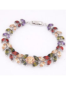Nameplate Multicolor Diamond Decorated Leaf Shape Design Zircon Fashion Bracelets