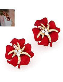 Handmade Red Diamond Decorated Flower Design Alloy Stud Earrings