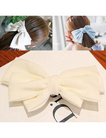 Printable White Pure Color Bowknot Shape Simple Design Alloy Hair Clip Hair Claw