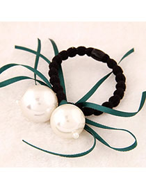 Collapsibl Green Pearl Decorated Bowknot Shape Design Alloy Hair Band Hair Hoop