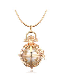 Aquamarine Champagne Gold Pearl Decorated Hollow Out Design Pearl Crystal Necklaces