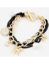 Estate Black & Gold Color Pearl Decorated Multi-element Design Alloy Korean Fashion Bracelet