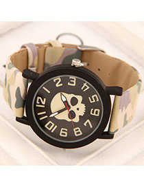 Athletic Beige Skull Pattern Simple Design Alloy Ladies Watches