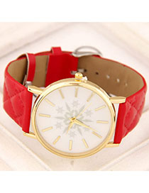 Masonic Red Snowflake Pattern Simple Design Alloy Ladies Watches