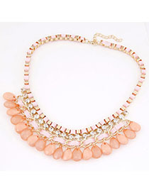 Folding Pink Diamond Decorated Waterdrop Shape Design Alloy Chains