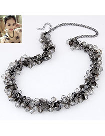 Energie Gun Black Beads Decorated Weave Design Alloy Beaded Necklaces