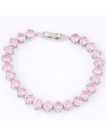 Propper Pink Diamond Decorated Simple Design Cuprum Fashion Bracelets