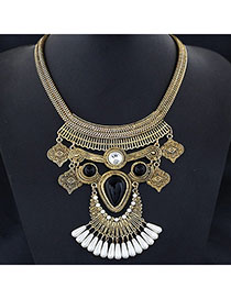 Cargo Gold Color Gemstone Decorated Waterdrop Shape Design Alloy Bib Necklaces