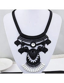 Childrens Black Gemstone Decorated Waterdrop Shape Design