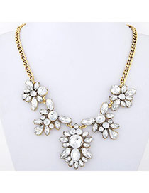 Noble White Diamond Decorated Flower Design Alloy Bib Necklaces