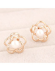 Automatic Gold Color Pearl Decorated Rose Shape Design Alloy Stud Earrings