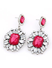 Aamazing Red Gemstone Decorated Flower Design Alloy Stud Earrings