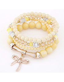 Male Yellow Bowknot Shape Decorated Multilayer Design Alloy Korean Fashion Bracelet