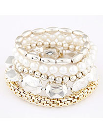 Standard White Beads Decorated Multilayer Design Alloy Korean Fashion Bracelet