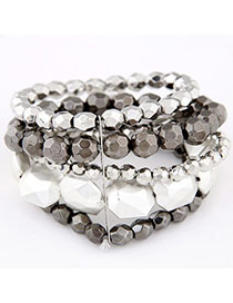 Womens Gray Beads Decorated Multilayer Design Alloy Korean Fashion Bracelet