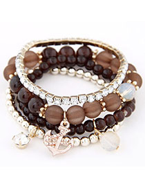Rave Coffee Diamond Decorated Multilayer Design Alloy Korean Fashion Bracelet