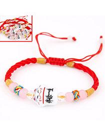 Engagement Red Cat Shape Decorated Weave Design Alloy Korean Fashion Bracelet