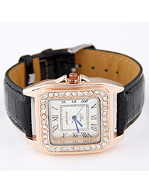 Floating Black Diamond Decorated Square Shape Design Alloy Ladies Watches