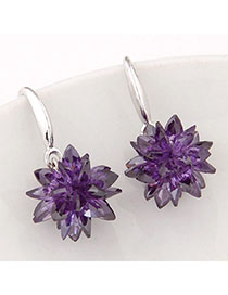 Oversized Purple Gemstone Decorated Flower Design Alloy Fashion Earrings