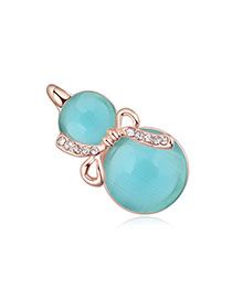 Asian Blue & Rose Gold Diamond Decorated Gourd Shape Design Alloy Crystal Brooches