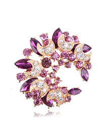 Direct Purple Diamond Decorated Meniscus Shape Design Alloy Crystal Brooches