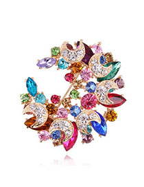 Dreamlike Multicolor Diamond Decorated Meniscus Shape Design Alloy Crystal Brooches
