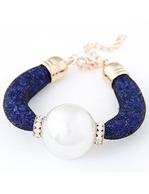 Punk Blue Pearl Decorated Simple Design Alloy Korean Fashion Bracelet