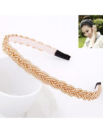 Single Champagne Gold Beads Decorated Weave Design Alloy Hair Band Hair Hoop