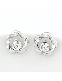 Buckle Silver Color Diamond Decorated Flower Design Alloy Stud Earrings