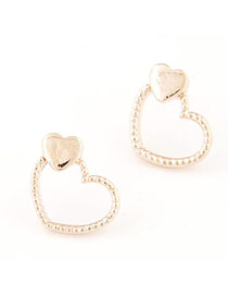 Bodybuildi Gold Color Heart Shape Decorated Simple Design Alloy Stud Earrings
