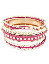 Waist Plum Red Diamond Decorated Multilayer Design Alloy Fashion Bangles