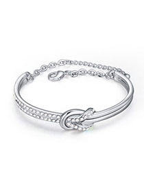 Pregnancy White Diamond Decorated Simple Design Alloy Crystal Bracelets