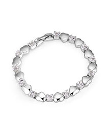 Rolling White Heart Shape Decorated Simple Design Alloy Crystal Bracelets