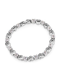 Classical Silver Color Heart Shape Decorated Simple Design Alloy Crystal Bracelets