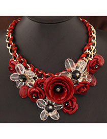 Funeral Red Gemstone Decorated Flower Design Alloy Bib Necklaces