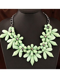 Flip Green Flower Shape Decorated Simple Design Alloy Bib Necklaces