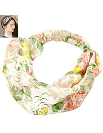 Charming Green Flower Pattern Decorated Simple Design Fabric Hair Band Hair Hoop