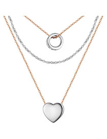 Claddagh Silver Color Heart Shape Decorated Mutilayer Design Cuprum Crystal Necklaces