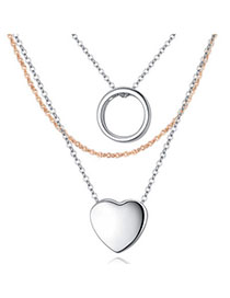 Inexpensiv Silver Color Heart Shape Decorated Mutilayer Design Cuprum Crystal Necklaces
