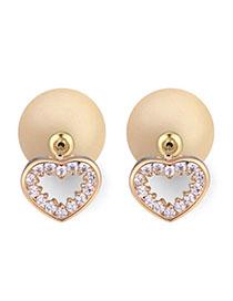 Custom Light Yellow Diamond Decorated Heart Shape Design Zircon Crystal Earrings