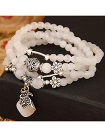 Preppy Beige Beads Decorated Purse Shape Multilayer Design Alloy Fashion Bracelets