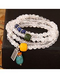 Heavy White Gemstone Decorated Multilayer Design Alloy Fashion Bracelets