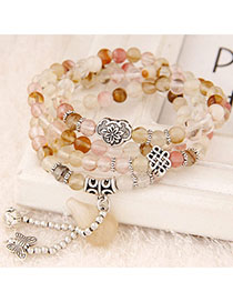 Hiphop Red Beads Decorated Multilayer Design Alloy Fashion Bracelets
