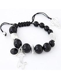 Micro Black Beads Decorated Deer Shape Design Alloy Korean Fashion Bracelet