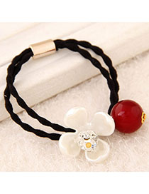 Players Whtie & Red Diamond Decorated Flower Design Rubber Band Hair Band Hair Hoop