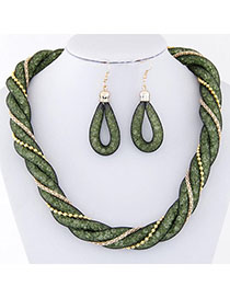 Political Green Beads Decorated Weave Design Alloy Jewelry Sets